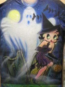 Betty Boop helloween airbrush T-shirt by antgarcia