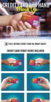 Credit Card and Hand Mockup by doghead