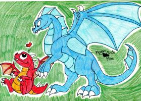 DragonVale- Blue Fire Dragon and Baby Fire Dragon by FlygonPirate