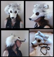 Arctic wolf mask with fangs by lupagreenwolf