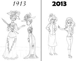 1913 Vs 2013: Mother-Daughter by ArsalanKhanArtist
