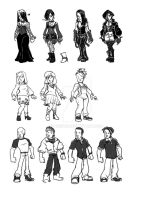 Character roughs for card game by Kebiru