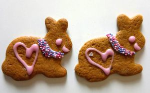 Gingerbread bunny twins by Pupuomena