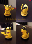 Pikachu Amiibo Super Smash Bros. Gold Hat Custom by BrittyDee