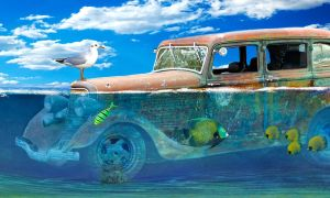 Old rusty car in the water!!! by Johndoop