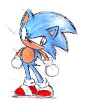 classic Sonic sketch by shiroiwolf
