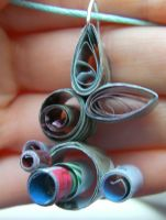 Cute Upcycled Paper Quilled Bunny Necklace 2 by cunningcatcrafts