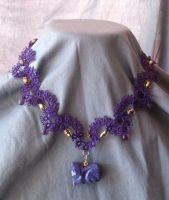 Purple Cat Necklace by Dorothy-T-Rose
