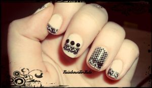 Nude and Black Lace Nail Art by RainbowsForKate