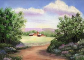 Oil Painting - Country Road by WispyChipmunk