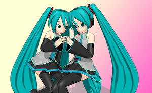 MMD two people pose by amiamy111