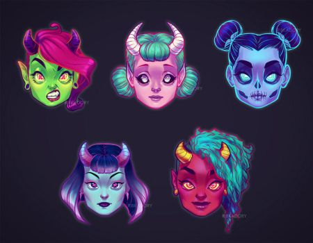 Demon Girls by ribkaDory