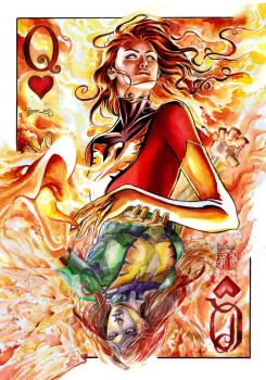 Dark Phoenix Queen of Hearts by DanielGovar