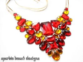 Red and Gold Statement Bib Necklace by Natalie526