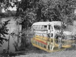 Old Bus and Summer Rain by candy691977