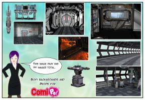 Scifi backgrounds and props for Comipo by Lady-Aurora-Moon