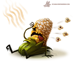 Daily Paint #988. Popcorn (OA) by Cryptid-Creations