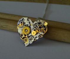 Steampunk Heart Necklace by FantasyDesigns1