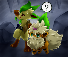 Leafeon and Growlithe exploring by BiyomonCuty