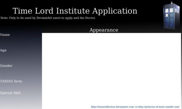 Time Lord Institute Application by TearsReflection