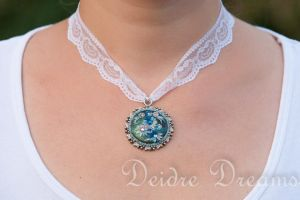 Bridal Choker Polymer Clay Frost Flowers Pendant by DeidreDreams