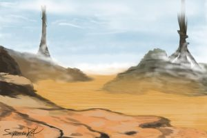 Background homework 1 - Desert scape by SycrosD4