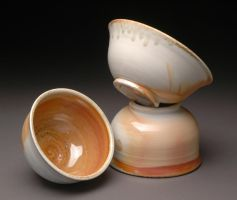 Wood Fired Porcelain Bowls with Orange Shino Liner by MBrownCeramics