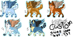 Winged puppy batch 2, 20 points each Open by Pinkey-poptard