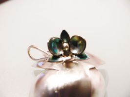 Patinated silver orchid ring by irineja