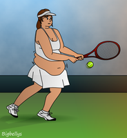 Tubby Tennis Girl by bigbellys