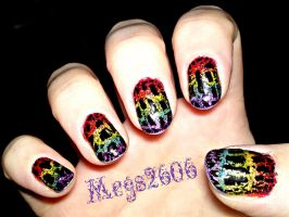 Polish Revisited:Black Crackle Over Rainbows Right by megs2606
