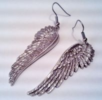 Hanging Angel Wing Earrings by SteamDesigns