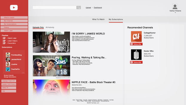 My YouTube Design Concept. Homepage. by tardisplus