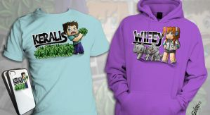 Minecraft T-Shirts - Keralis And Wifey by FinsGraphics