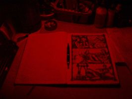 My working table in red by Debit