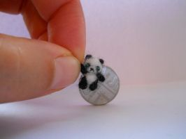 OOAK micro miniature jointed artists bear panda by tweebears