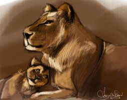 Lion study:  A mother's Job is Never Done by artclee
