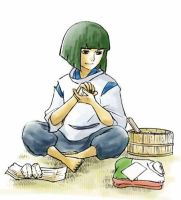 Haku Making Riceballs by hashinami