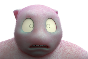 Zbrush doodle day 297 - Fuzzy pink lummox by UnexpectedToy