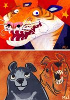 crazy bear tigers by MelDraws