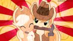 Applejack and Braeburn Wallpaper by FlipsideEquis