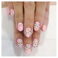 pink- white cheetah  nail art love! by Madhurupa