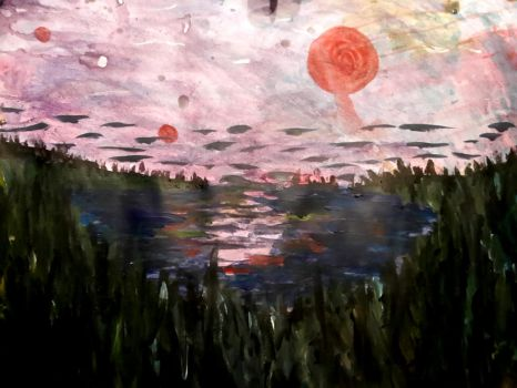 landscape made with acrylic and water by LeRevoltoso