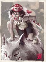 TributoGhibli. Mononoke COLOR by ruth2m