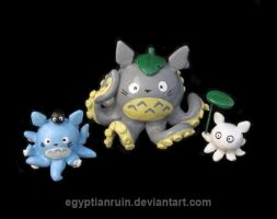Totoro Octopuses by egyptianruin