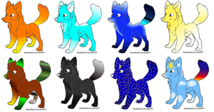 Cheap Elemental wolf adopts by Honey-PawStep