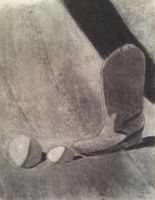 Boot Still Life in charcoal maybe in 2000 by Aurora9912