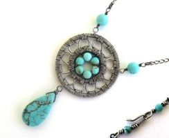 turquoise silver necklace by annie-jewelry