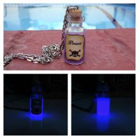 Glow in the dark poison bottle cute necklace by Saloscraftshop