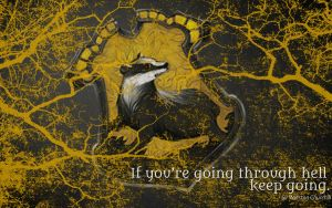 HP Wallpaper : Hufflepuff Lightning (with quote) by TheLadyAvatar